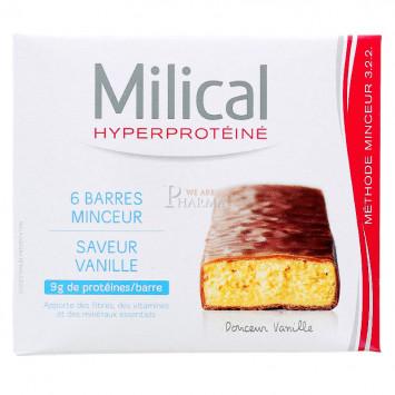 MILICAL HYPERPROTEINE BARRE MINCEUR VANILLE x 6