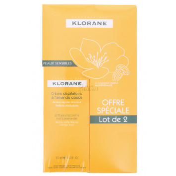 CREME DEPILATOIRE TRES DOUCE KLORANE 150ML LOT DE 2