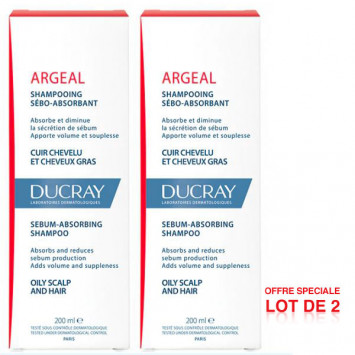 DUCRAY Argeal Shampooing Traitant Sebo-Absorbant 2x200ML