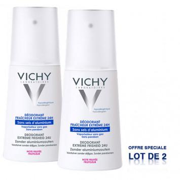 VICHY Déodorant Fraîcheur Extrême 24H Sans Sels d'Aluminium Note Fruitée 2x100ml