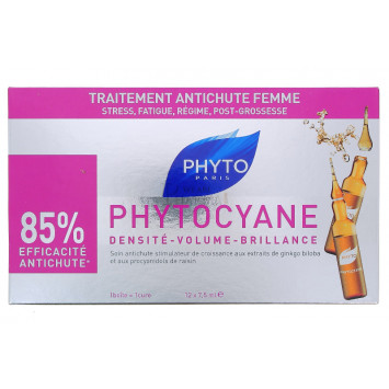PHYTOCYANE SOIN ANTICHUTE STIMULATEUR DE CROISSANCE PHYTO 12 x 7,5ML