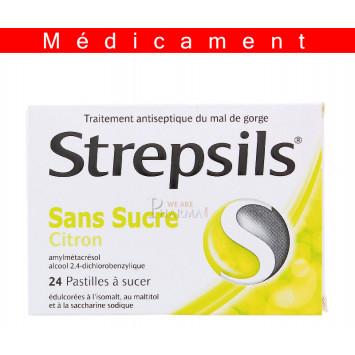 STREPSILS CITRON SANS SUCRE, pastille édulcorée à l'isomalt, au maltitol et à la saccharine sodique – 24 pastilles