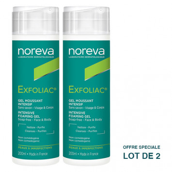 NOREVA EXFOLIAC Gel Moussant Intensif 2x200ml