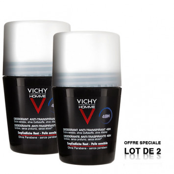 VICHY Homme Déodorant Anti-Transpirant 48H Roll-On 2x50ml