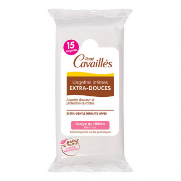ROGE CAVAILLES Lingettes Intimes Extra-douce 15 lingettes