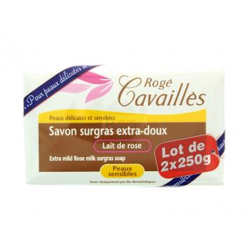 SAVON SURGRAS EXTRA-DOUX LAIT DE ROSE ROGE CAVAILLES 2x250G
