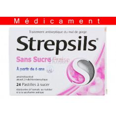 STREPSILS FRAISE SANS SUCRE, pastille édulcorée à l'isomalt, au maltitol et à la saccharine sodique – 24 pastilles